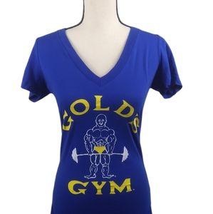 Gold's Gym Retro Blue Yellow V-Neck T-shirt M